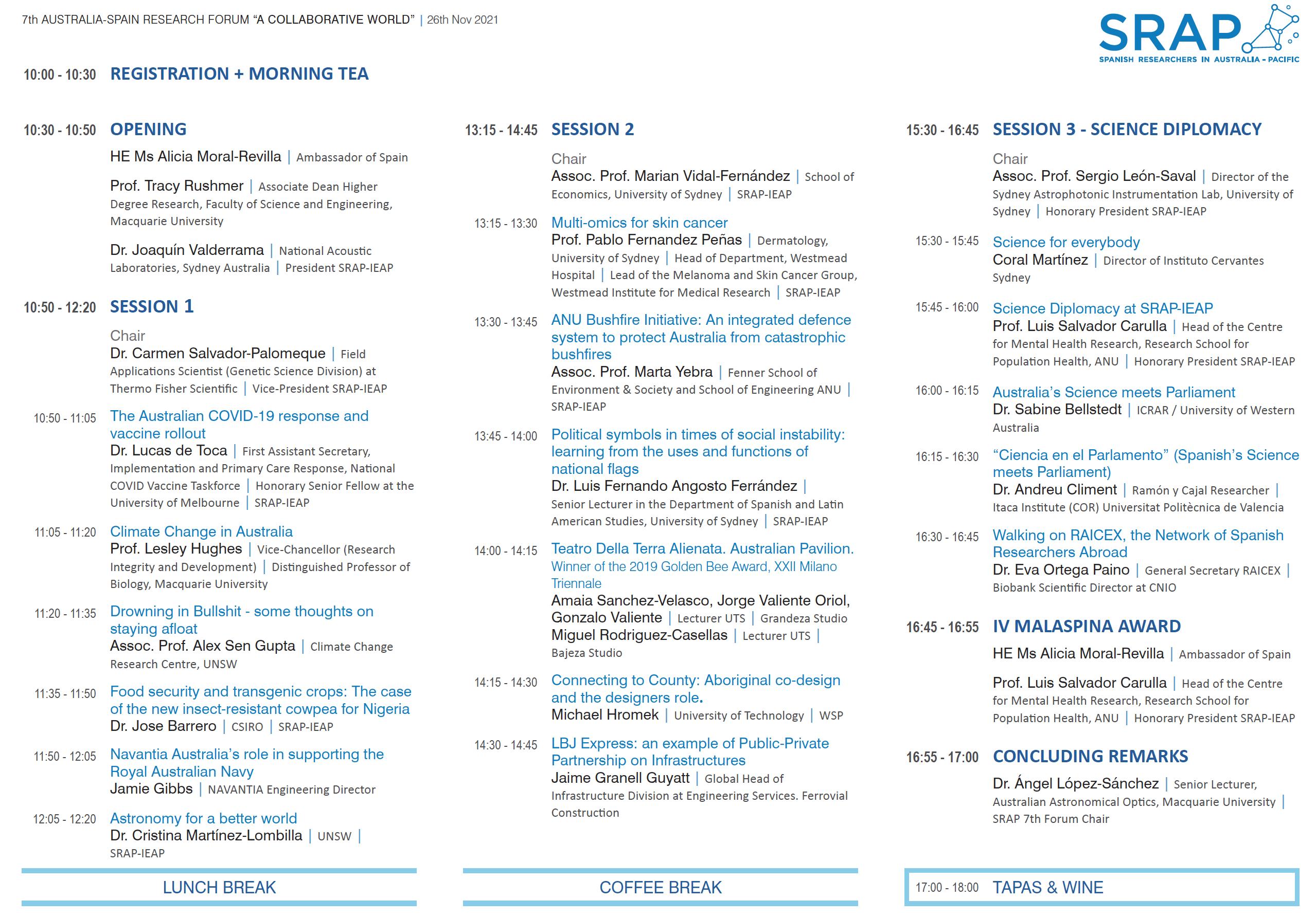 "Program of the 2021 Australia-Spain Research Forum ""A Collaborative World"""